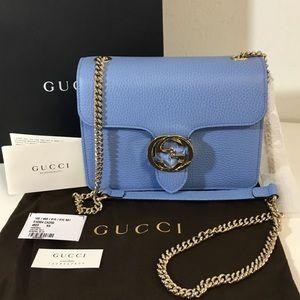 NWT Gucci mineral blue leather crossbody bag